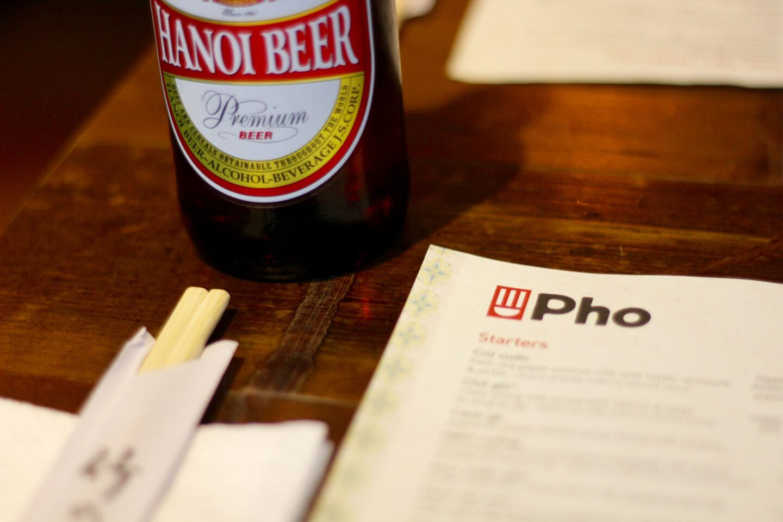 hanoi beer and chopsticks on menu
