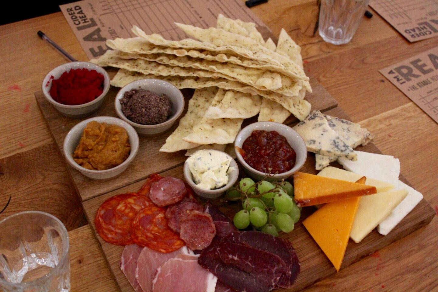 sharing starter boards: stix & dips and capreolus charcuterie & cheese